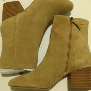J Crew - Maya Stacked Heel Suede Ankle Boot.